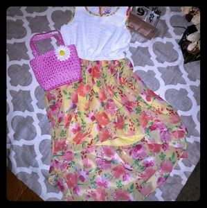 Other - Beautiful High-Low Floral Print Dress W/Purse